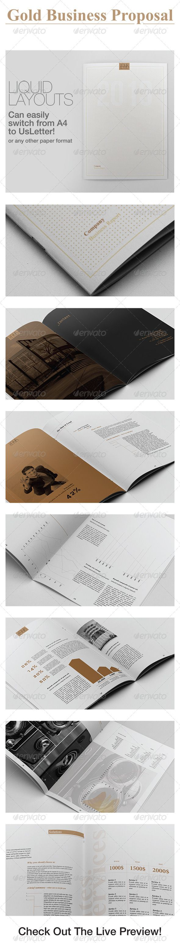 Gold Business Proposal: This is a complete Indesign Template for an Business Report / Proposal.