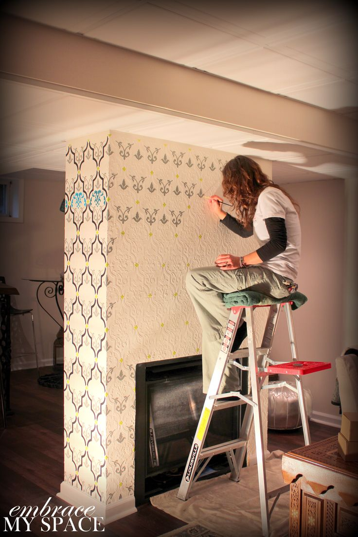 Double Sided Fireplace In Basement Raised Stencil Then