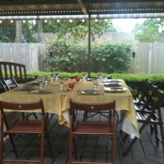 Spring Dinner Party in the back yard.   Table decor :)