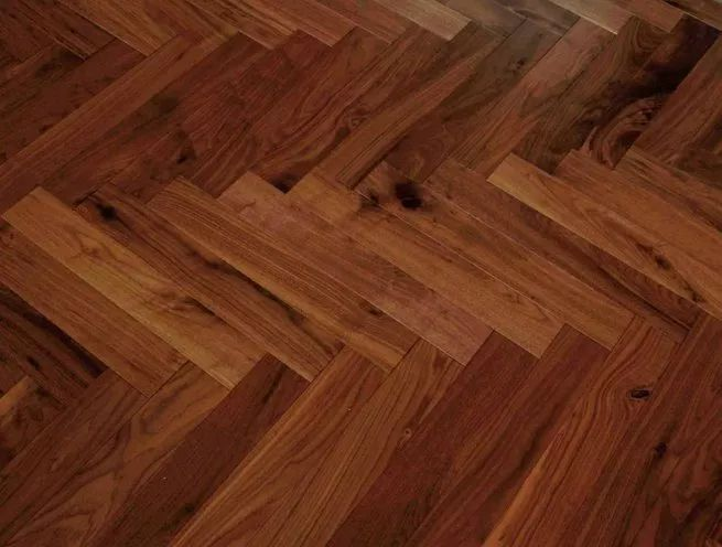 Engineered Click Parquet American Black Walnut Lacquered herringbone wood Flooring