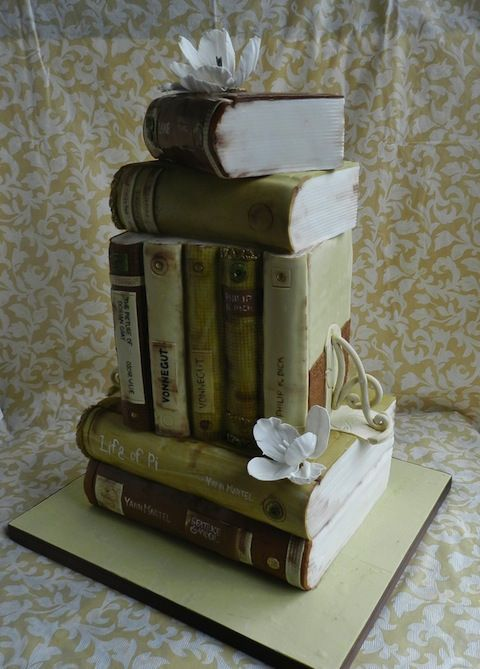 Books all stacked up - it's a cake!
