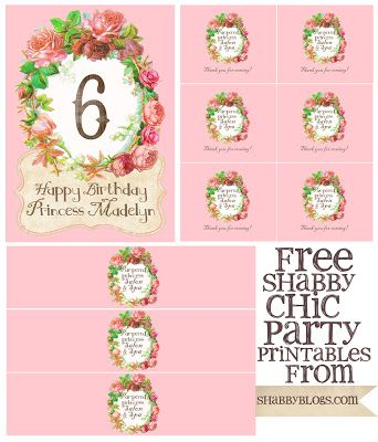 Free Printable Shabby Chic Birthday Party Kit !!! (Believe me, these are hard to find  :)