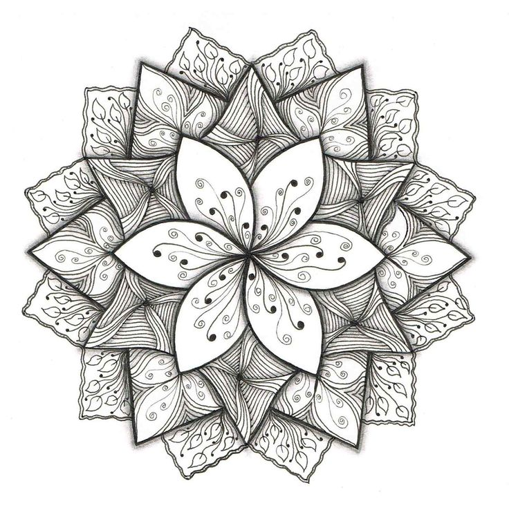 easy flower simple drawing mandala patterns pattern designs floral draw drawings outline zentangle cool pretty awesome mandalas paper paintingvalley doodle