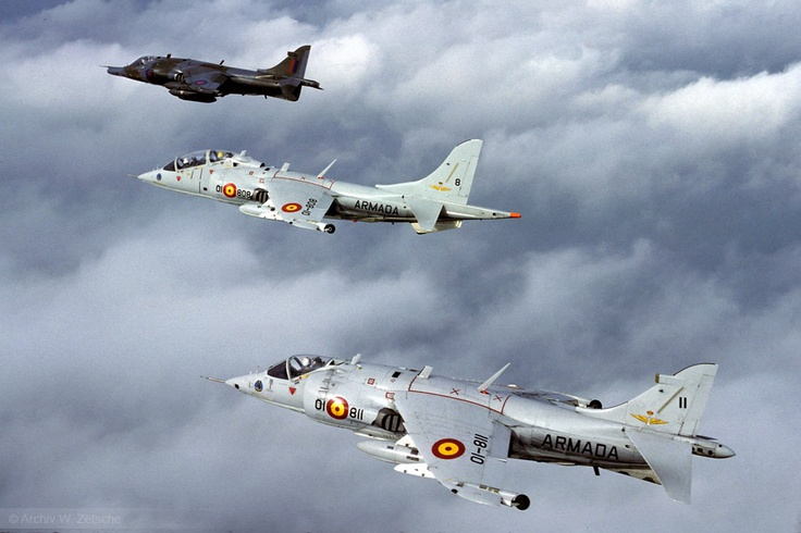 AV-8A Harriers of ARMADA Esc008 over Germany while being detached to RAF Gütersloh
