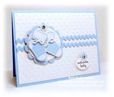 "It's a really cute set to use for Christmas, and the ""booties"" are a great added bonus.  I used Pink Pirouette for the baby girl card. Below is my baby boy version using Bashful Blue."