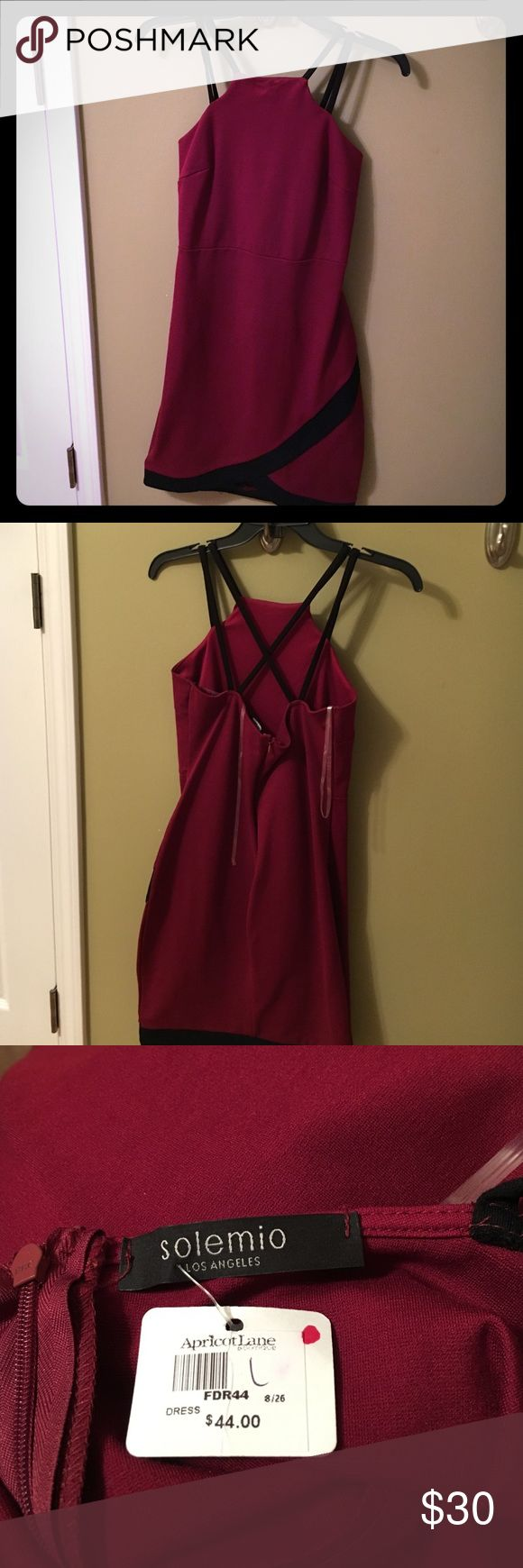 "Apricot lane dress See tag. Falls above the knees. The color is more wine or burgundy than ""red"" solemio  Dresses Mini"