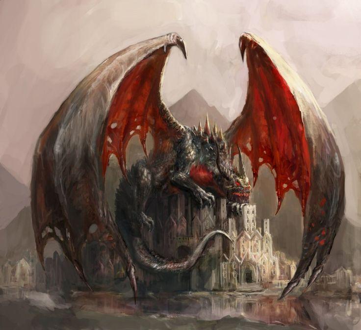Lazy black dragon lying on castle by Chevsy