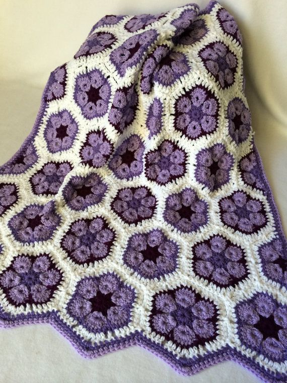 Baby Girl/Toddler/Child Crochet Blanket, African Flower Motif Crochet Baby Blanket - 3 Shades of Purple and White - MADE TO ORDER