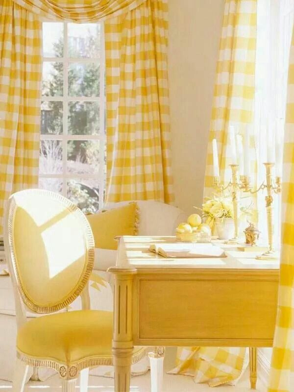 07-27'2016 yellow Buffalo check curtains, My wee yellow desk is just right for writing letters and prose.....so sunny and bright.