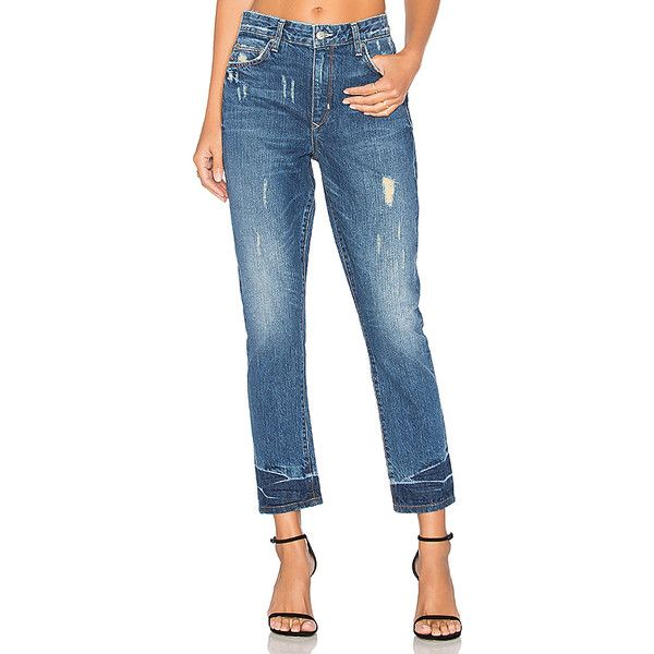 Lovers + Friends Logan High-Rise Tapered Jean ($190) ❤ liked on Polyvore featuring jeans, high-waisted jeans, distressing jeans, faded jeans, high waisted distressed jeans and distressed jeans