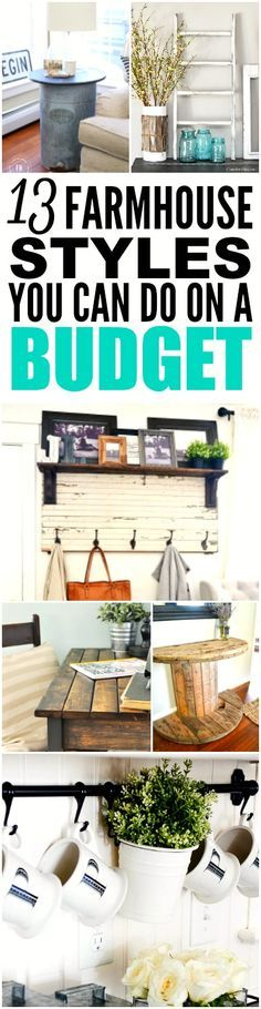 These 13 farmhouse styles on a budget are THE BEST! I'm so happy I found these GREAT DIY projects! Now I have some cute ideas on how to decorate my home! Definitely pinning for later!