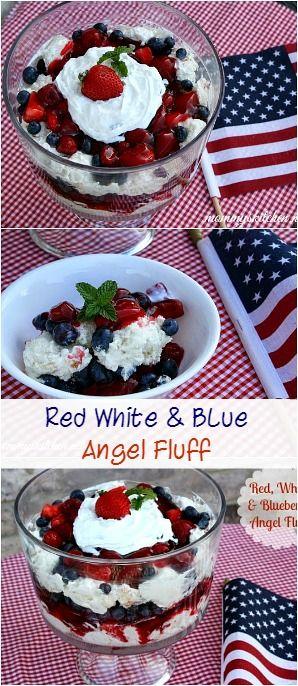 Red, White & Blue Angel Fluff for Texas Independence Day!! #texaspride #redwhiteandblue #dessert