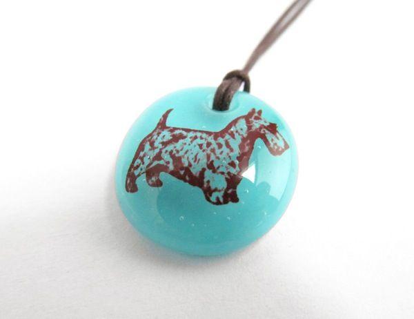 Scotch Terrier Necklace - handmade in glass by  l e i l a c o o l s