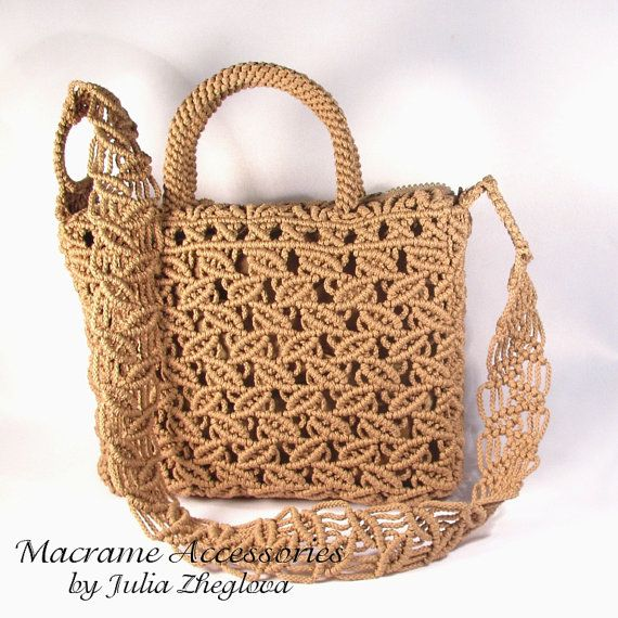 Macrame Bag Dance Of Leaves woman beige lace braided by makrame, $145.00