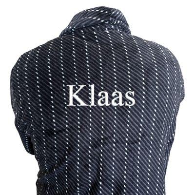 Badjas met naam UNISEX (Krijtstreep) - te bestellen bij PrachtigKado.nl