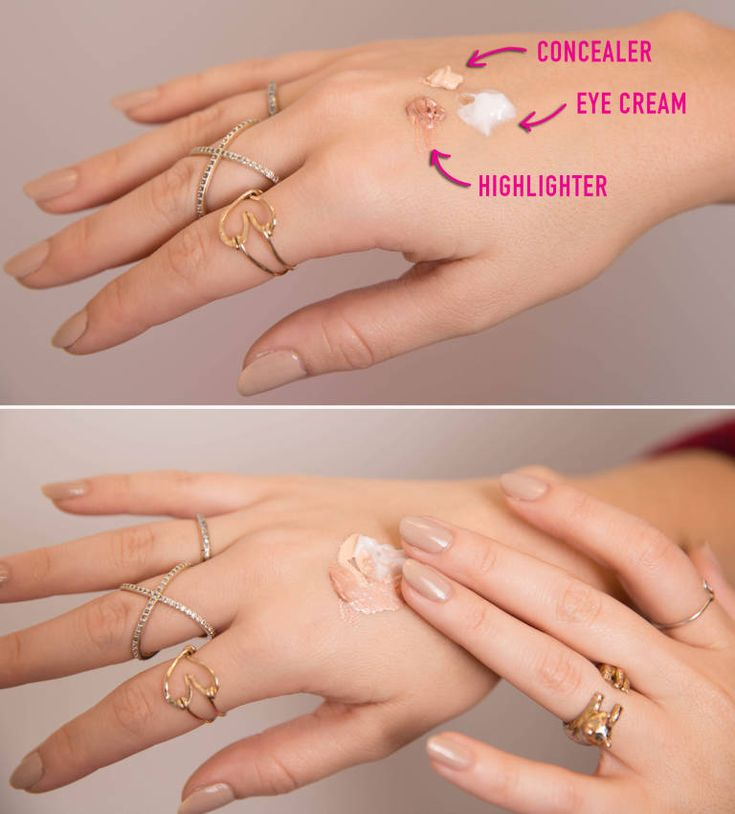Hide puffy eyes with a bit of eye cream, highlighter, and concealer.