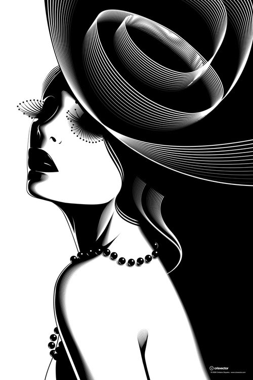 by Cristiano Siqueira: Black And White, Illustrations, Art, Black White, Has, Design, Cristiano Siqueira, Hat
