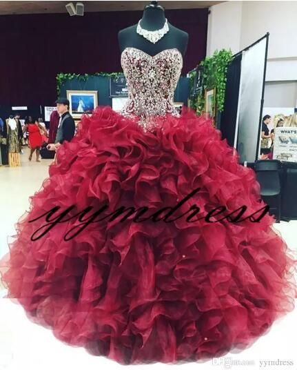 5dbc19e468 2019 Burgundy Quinceanera Dresses Crystal Beaded Corset Ruffles Ball Gowns  Masquerade Dresses Vestidos De 15 Anos Sweet 16 Prom Gown