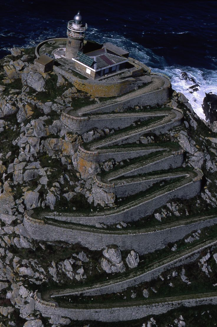 Lighthouse in Vigo, Galicia, Spain ~ Wow, and I thought there were way too many steps to Point Reyes Light!