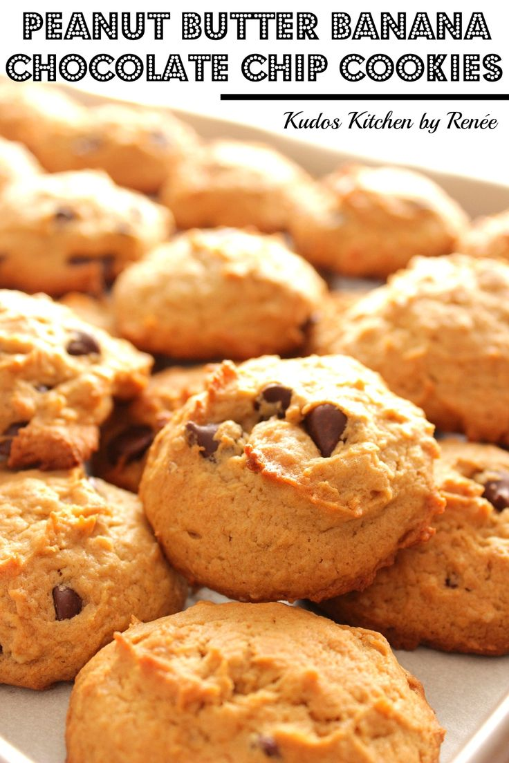The addition of mashed bananas and rolled oats fill the bill nicely for these Peanut Butter Banana Chocolate Chip Cookies. The result is a deliciously soft cookie that can also fit seamlessly into the breakfast category. LOL! You can thank me later! - Kudos Kitchen by Renee