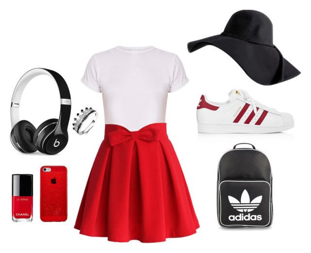 """""""Sans titre #4"""" by lauriedesjardins on Polyvore featuring mode, Chicwish, adidas, adidas Originals, Beats by Dr. Dre et Chanel"""