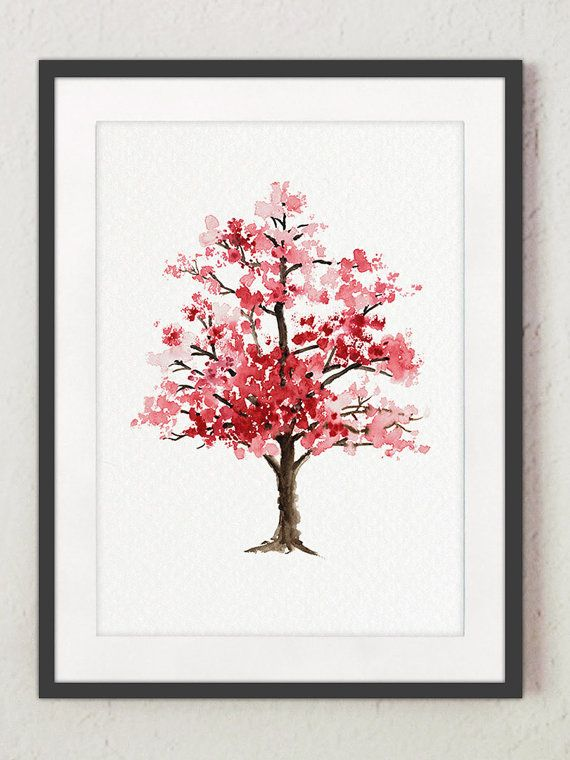 Cherry Blossom Tree Watercolor Painting, Floral Giclee Wall Art Print, Baby Girl Nursery Decor, Pink Blossom, Oriental Art Illustration – Carol Ventura