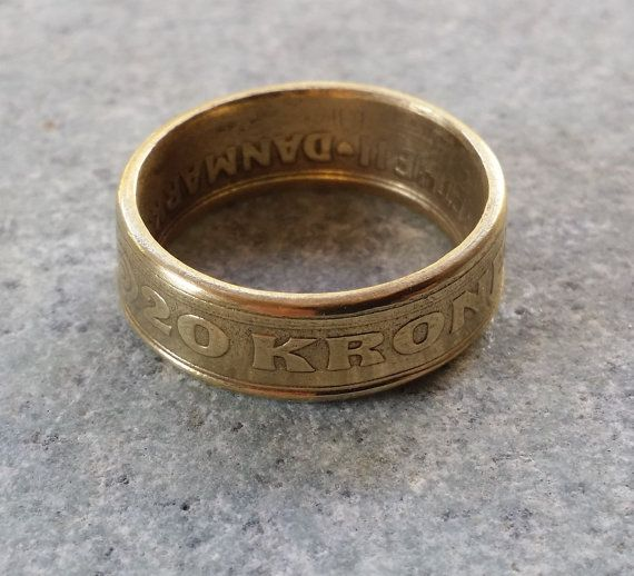 Denmark 20 Kroner Coin Ring Handcrafted Size 9.5