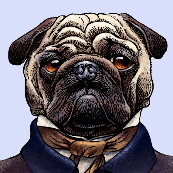 """Signed portrait of Edgar Allan Pug by Chet Phillips.  This signed portrait print by Chet Phillips is from the series """"Literary Pets."""" Pug dog portrait of author Edgar Allan Poe. The series creates famous authors as dog and cat personalities."""