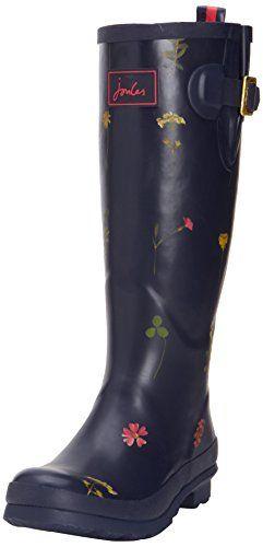 Joules Welly Print - Botas de goma para mujer marrón marrón, color azul,  talla