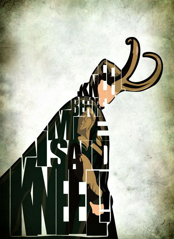 Loki Inspired The Avengers Typographic Print and Poster -- pinning not for the image made from text, but the darker color scheme and grunginess.