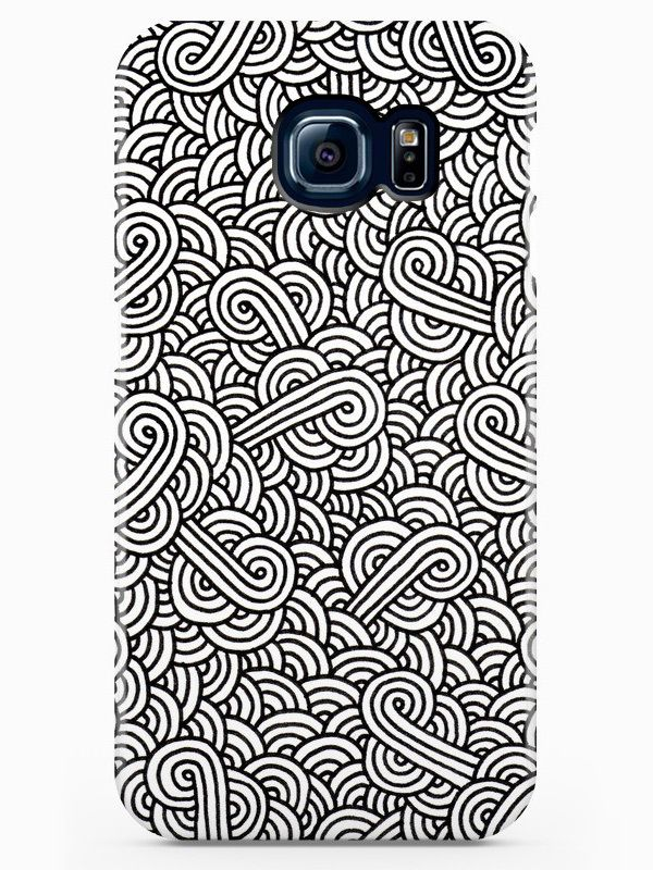 """Black and white swirls doodles"" iPhone & Galaxy Case by Savousepate on Artistocracy | Coques pour iPhone & Galaxy ""Volutes noires et blanches"" par @savousepate sur @artist0cracy"