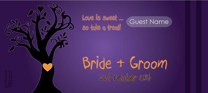 halloween wedding stubby holders - love is sweet so take a treat!