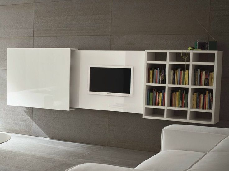 Wall-mounted retractable TV cabinet SLIM 10 by Dall'Agnese design Imago Design, Massimo Rosa