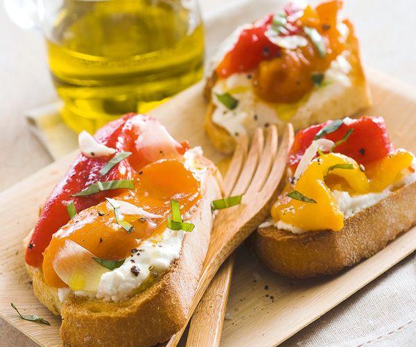 #Bruschetta à la #ricotta et #poivron grillé