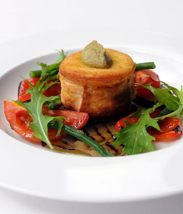 This goats cheese recipe from the fantastic Stephen Crane features rich, warm crisp goat cheese parcels served with fresh flavoured and colourful Mediterranean vegetables for a stunning vegetarian recipe.