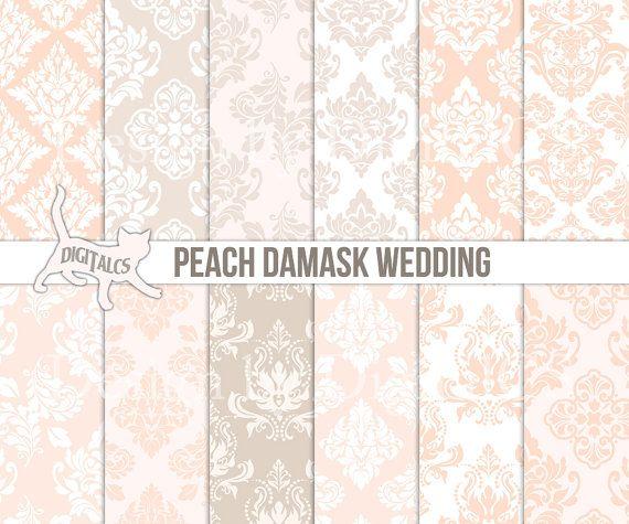 Peach wedding digital paper Printable paper download DIY  Beige wedding paper by DigitalCS