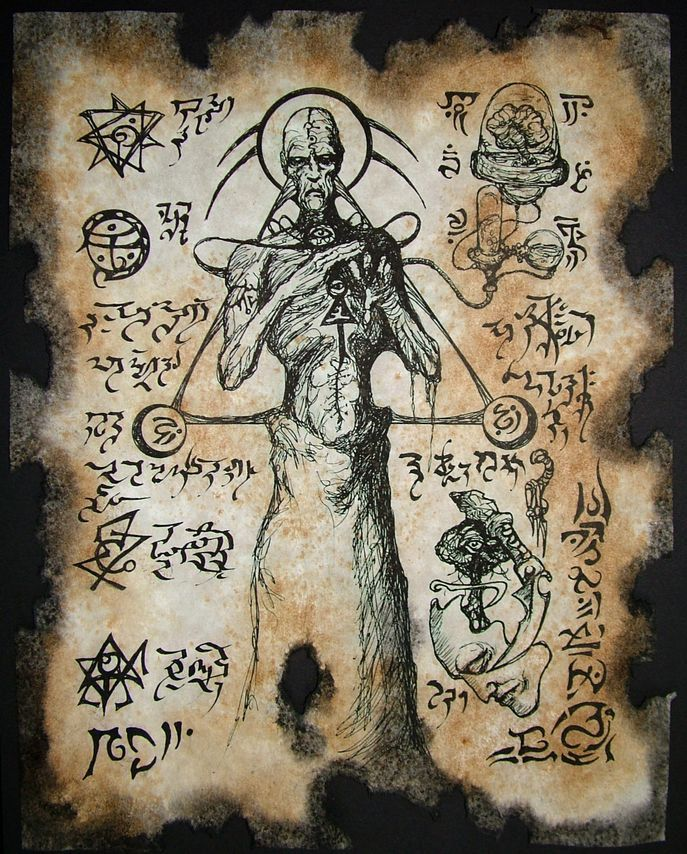 Cthulhu Necronomicon Fragment Sorcerers of Atlantis occult Steampunk. $10.00, via Etsy.