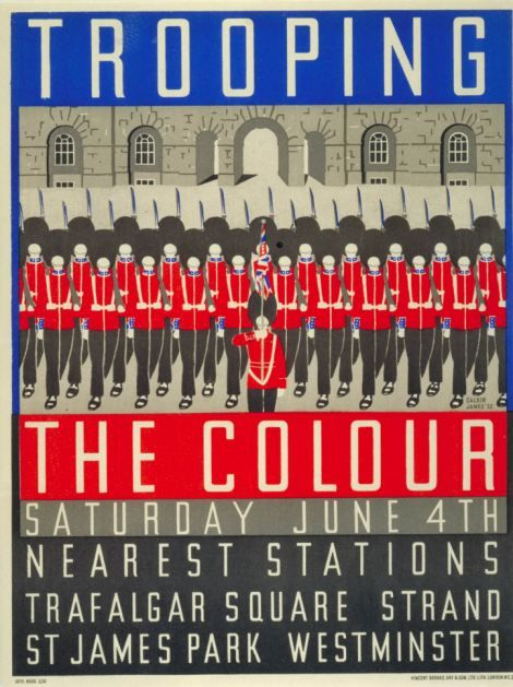 121. Trooping the Colour, by Margaret Calkin James, 1932.jpg - Poster Art 150: London Underground's Greatest Designs. A major exhibition at London Transport Museum opening on 15 February 2013 in celebration of 150th anniversary of the Underground.