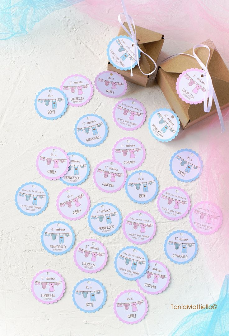 24 30 40  45 Etichette Personalizzabili in Carta Bianca con Bordo Rosa o Bordo Azzurro e Testo-Nascita-Bomboniera-Tag-Targhette-Chiudipacco di BolleDiCarta su Etsy