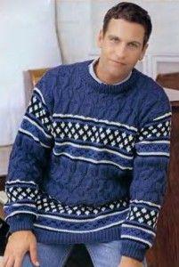 Pullover mit Jacquard-Streifen und Zöpfen