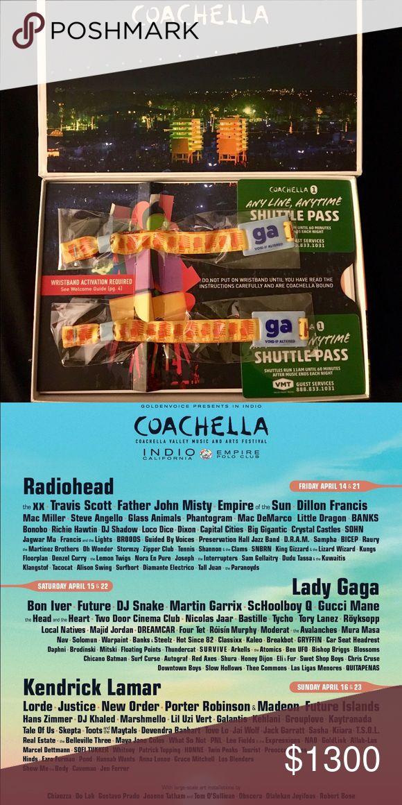 2 GA Coachella Passes 2 GA passes to Coachella Weekend 1 w Shuttle passes! Other