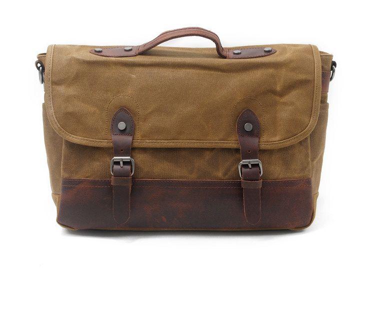 Waxed Canvas Leather Laptop Messenger Bag Satchel Briefcase Men AF43