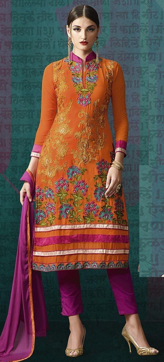 Orange Georgette Embroidered Un-Stitched Salwar Kameez Dupatta