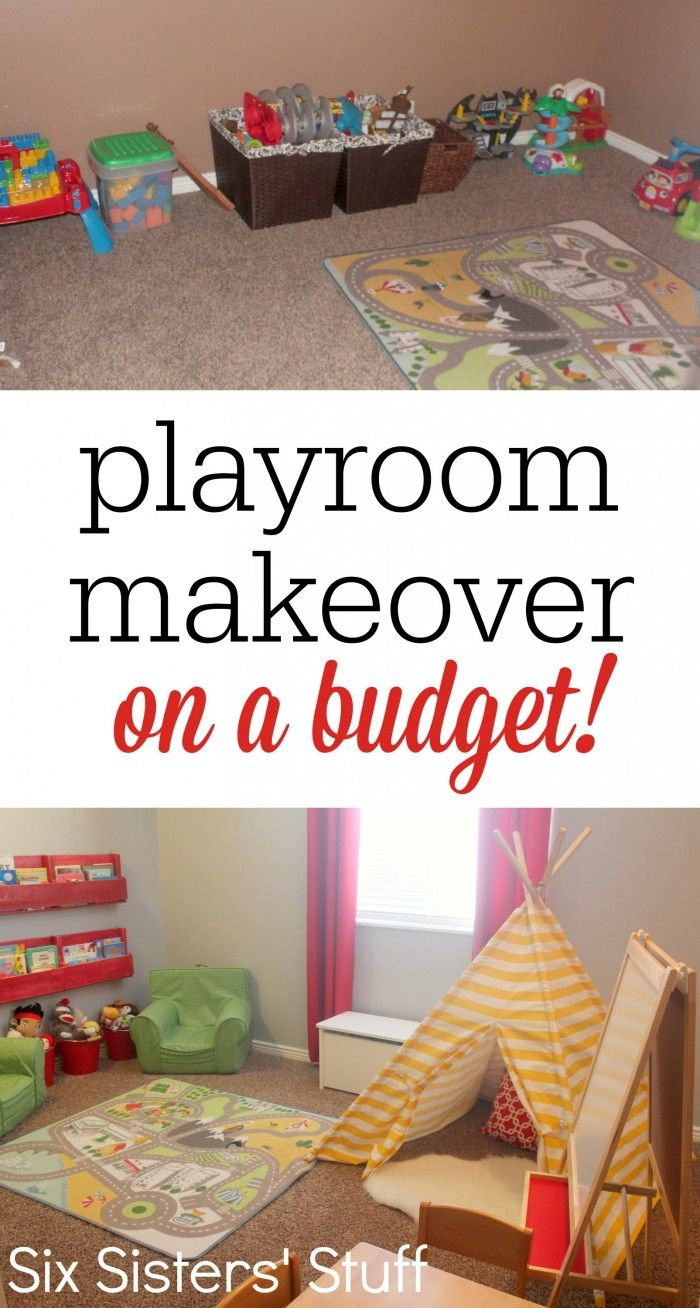 Check out our Kid's Playroom Makeover on a Budget! A few small changes made this small room into an awesome playroom for kids! #diy #decor #playroom #sixsistersstuff