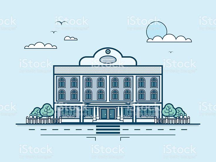 Город улица в ресторане современной архитектуры в строке стиль Сток Вектор Стоковая фотография