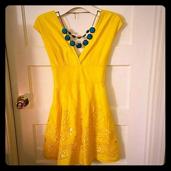 SALE!! Arden B. yellow dress Only worn twice to weddings! Super cute and flattering yellow dress from Arden B. Size 2.  V neck front and back with empire waist that ties in the back. Embroidered cutout design with full lining. Arden B Dresses Mini