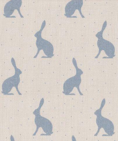 Peony & Sage Mini Hares Oxford Blue - £43.95/mtr
