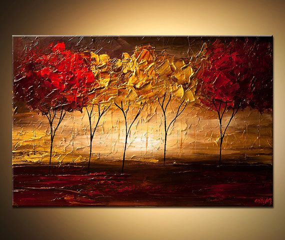 """Landscape Abstract Contemporary Blooming Tree Painting Acrylic Textured Modern palette knife Original by Osnat 36"""""""