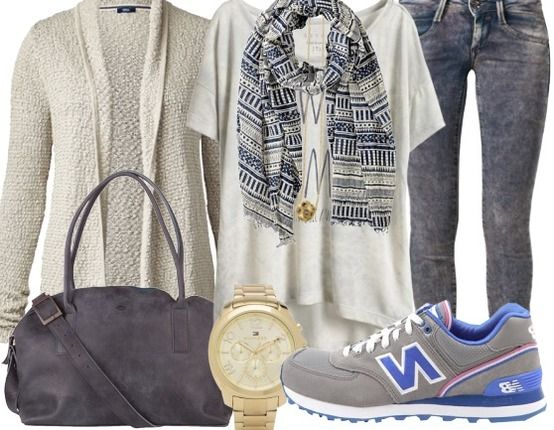 SportyChick!! - Sportieve Outfits - new balance sneakers - esprit T-shirt - barts sjaal - fred de la bretoniere handtas - tommy Hilfiger horloge - fornarina jeans - cecil vest