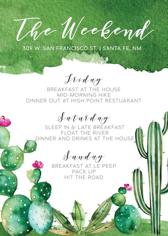 BACHELORETTE WEEKEND ITINERARY - PRINTABLE PARTY INVITATION: This personalized printable bachelorette weekend itinerary is a fun and festive way to send details for your next bachelorette or weekend getaway! Itinerary is personalized with your choice of wording; the text can be customized to fit your occasion.  SIZE: 5x7 TYPE: Digital Download CUSTOMIZABLE: yes  This Printable Itinerary is 5x7 inches and features a pretty desert design - this file, once customized, will be sent to you as a…